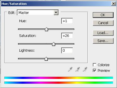 Hue/saturation beállítások